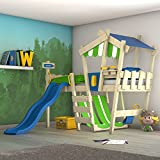 WICKEY Kinderbett mit Rutsche CrAzY Hutty Hochbett mit Dach Abenteuerbett mit Lattenboden,...