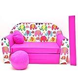 Kinder Sofa Couch Baby Schlafsofa Kinderzimmer Bett gemütlich verschidene Farben und motiven (H9 rosa Elefanten)
