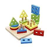 Frühe Entwicklung pädagogische Vorschul Form Farbe Erkennungsblock Stack Sorter Puzzle HolzSpielzeug, Geburtstagsgeschenke Spielzeug für Alter 3 4 5 Jahre alt und Up Kind Baby Kleinkind Jungen Mädchen