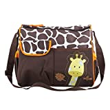 TRIXES Baby Windeltasche Wickeltasche braune Tasche mit Giraffe und grünen Rand beinhaltet Matte und transparente Zubehörtasche