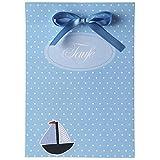 15 Einladungskarten und 15 Dankeskarten zur Taufe - Taufkartenset 'Boaty' - inkl. Tischkarten,...