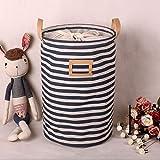 ALLTOP premium cartoon foldable cotton line Wäschekorb Klapp Kinder Spielzeug organizer Spielzeug aufbewahrung Spielzeug Warenkorb Kleidung Halter wäschebox mit Deckel gepunktet, blau 2