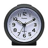 Kleine Uhr, Plumeet nicht tickender Analog Quarzwecker mit Schlummermodus und Nachtlicht, niedlicher...