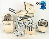 Kombikinderwagen 3in 1Retro mit Kinderwagen Große Räder Babyschale und Sitz Cosy Auto + Sonnenschirm gratis