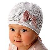 Marika Baby Mädchen Mütze Strickmütze Sommermütze Festlich Taufe Schleife Baumwolle weiß Größe One Size