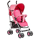 SCJ Kinderwagen aus Aluminium für Kinder, Leichter klappbarer Kinderwagen, atmungsaktiv/Anti-Moskito/Anti-Prise/Dämpfung - sicherer und komfortabler Kinderwagen,Pink