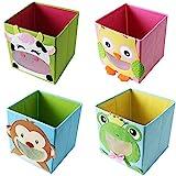 4 Stück TE-Trend Textil Faltbox Spielbox Tiermotive Frosch Affe Eule Kuh Aufbewahrung Truhe für...