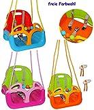 Gitterschaukel / Babyschaukel - mitwachsend & umbaubar - mit Gurt - ' ROT / GELB / BLAU ' - leichter...