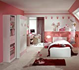 Kinderzimmer komplett Set 'LIttle Princess L' rosa weiss Jugendzimmer Bett, Kleiderschrank, Nachtschrank, Regal, Hängeregal, Jugendzimmer, Mädchenzimmer, Jugendbett