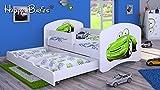 HB Kinderbett mit Matratze und Bettkasten - NEU , Verschiedene Motive Weiss (180x90cm mit Schublade, WEISS-AUTO)