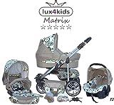 Chilly Kids Matrix II Kinderwagen Sommer-Set (Sonnenschirm, Autositz, Regenschutz, Moskitonetz, Schwenkräder) 12 Kreise Türkis & Beige