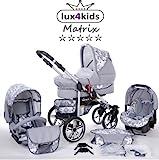 Chilly Kids Matrix II Kinderwagen Komplettset (Autositz & Adapter, Regenschutz, Moskitonetz, Schwenkräder) 64 Graphit & Graphit Blumen