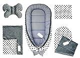 5tlg. Baby Ausstattung-Set inkl. Babynest 50x90cm, Nackenkissen, Flachkissen, Baby-Matratze,...