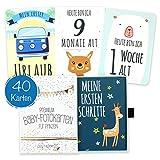 40 Baby Meilenstein-Karten für Jungen mit hochwertiger Verpackung von Cozy Racoon (Sprache Deutsch)...