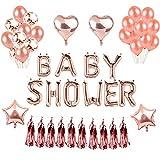 Weimi Baby Shower Party Dekorationen Ballons Rose Gold Stern Herz Folienballon für Baby Shower...