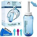 YOGAMEDIC Nasendusche Set - 20x Nasenspülsalz - 3 verschiedene Aufsätze zur effektiven Nasenreinigung - Nasenspülung 300ml bei Erkältung oder Allergien - Nasendusche Erwachsene