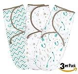 Pucksack Baby Wickel-Decke für 0-3 Monate 3er Pack mit verstellbaren Flügeln | 100% Premium Baumwolle Schlafsack für Neugeborene, Säuglinge und Kleinkinder | Universal Decke für Mädchen und Jungen