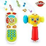 VATOS Baby Fernbedienung Spielzeug & Baby Hammer Spielzeug für 12 bis 18 Monate bis Kinderspielzeug Beleuchtung & Sound Baby Hammer Spielzeug für 1 Jahr alt (nur Englische Aussprache)