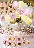 Baby Shower Dekorationen BABY DUSCHE & IT'S A Girl Girlande Bunting Banner Seidenpapier Blume Pom...