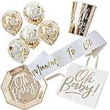 in due 38 Teile Dekorationsset Baby Party Schärpe, Teller, Becher, Servietten & Luftballons - Gold Babyshower Baby Deko Tischdeko Geburtstag