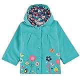 Trudge Mädchen Regenjacke Trenchcoat Outdoorjacke für Kinder Winddicht Regenfest Mit Kapuze Doppelschicht Blumenmuster 90-140CM (90(Alter:1-2), Blau)