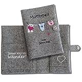 Mutterpasshülle Deluxe'Wäscheleine' mit Namen der werdenden Mama *** nur passend für den deutschen Mutterpass ***