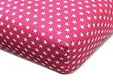 Baumwoll-Spannbetttuch für Kinder - kindgerechtes Design mit Sternen im Alloverdesign - erhältlich in 8 Farben kombiniert mit weißen Sternen und 3 Größen - Steghöhe ca. 20 cm, 70 x 140-150 cm, fuchsia