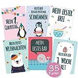 35 Baby Meilenstein-Karten mit hochwertiger Verpackung von Cozy Racoon (Sprache Deutsch) - Meilensteinkarten (für Junge und Mädchen) - Geschenk zur Geburt, Babyparty, Schwangerschaft