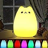Nachtlicht Kind, Omitium Silikon LED Nachttischlampe mit 7 Beleuchtung Touch USB-Ladeoption Nachtlicht Baby für Kinderzimmer Kindergeburtstag Schlafzimmer Wohnräum Geschenk Deko
