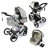 3 in 1 Kinderwagen Bambimo Grau/Babywanne / Buggy/Sportsitz / Babyschale/Autositz / Aluminium -...