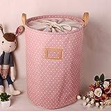 ALLTOP premium cartoon foldable cotton line Wäschekorb Klapp Kinder Spielzeug organizer Spielzeug aufbewahrung Spielzeug Warenkorb Kleidung Halter wäschebox mit Deckel gepunktet, Rot