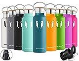 Super Sparrow Trinkflasche Edelstahl Wasserflasche - 500ml & 750ml & 1000ml - Isolier Flasche mit 100%-Zufriedenheitsgarantie | Perfekte Thermosflasche für das Laufen, Fitness, Yoga, Im Freien und Camping, Auto oder Unterwegs | Frei von BPA | Ideal als Wasser Flasche & Sportflasche - mit 2 auswechselbaren Kappen (Dunkelgrün, 500ml-17oz)