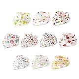 10er Baby Dreieckstuch Lätzchen Mädchen Spucktuch Baumwolle Halstücher mit süßen Motiven in unterschiedlichen Farben, Doppellagig Saugfähig