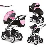 16 teiliges Qualitäts-Kinderwagenset-Reisesystem 3 in 1 'COSMO' in 41 Farben: Kinderwagen + Buggy +...