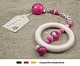 Baby Kinderwagen Anhänger mit NAMEN | Kinderwagenkette mit Wunschnamen - Mädchen Motiv Hello Kitty in pink, rosa