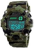 Kinder Digital Uhren, Jungen Sporthr Military Armbanduhren mit Alarm/Timer/stoßfest, Jugendliche Kinder 5 Bars Wasserdicht Uhren Big Face Camouflage Elektronische Digitaluhren für Jungen von BHGWR