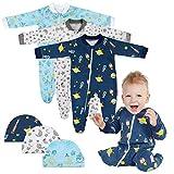 Lictin Strampler Baby Strampler Babykleidung Strampler Junge Schlafstrampler Baumwolle mit Baby Mütze für Neugeborene 0-3 Monate, Jungen, 3-6 Monate