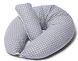 Stillkissen Seitenschläferkissen Schwangerschaftskissen zum Schlafen +Klein Kissen| Stillkissenbezug 190cm Grau Punkte Weiß |Multifunktionales- Babynest, Nestchen|Niimo Made in EU