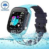 Jaybest Kinder Smartwatch IP68 imprägniern Telefon Uhr,Touch LCD Kid Smart Watch für Jungen Mädchen mit LBS SOS Anruf Anti-Lost Voice Chat(Blue)