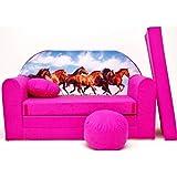 H29 Kindersofa Kinder Sofa Couch Schlafsofa Baby Kinderzimmer Bett gemütlich (H29 rosa Pferde)
