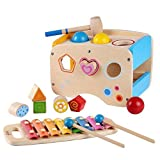 Wooden Learing Hammering & Pounding Toys + 8 Notizen Xylophone + Form Farbe Anerkennung,...