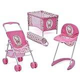Hauck Toys for Kids Puppen-Set 3-teilig (Buggy, Hochstuhl & Reisebett) - Hello Kitty - Rosa