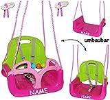 mitwachsende - Babyschaukel / Gitterschaukel mit Gurt - ' ROSA / PINK ' - incl. Name - leichter...