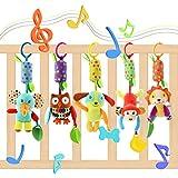 Lanero 5 Packs Kinderwagen Spielzeug, Kinderbett Anhänge, Cartoon Tier hängen Rassel Kleinkind Spielzeug, weiche Flock Stoff mit Klingel Glocke