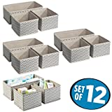 mDesign Aufbewahrungsboxen aus Stoff im 12er Set – Stoffbox in zwei Größen für Wäsche, Windeln, Tücher, Accessoires etc. – flexible Aufbewahrungskiste für den Schrank oder Schublade – taupe