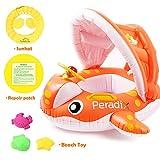 Peradix Aufblasbares Kinderboot Baby Schwimmring Beach Sommer Hingucker für Wasserspaß Familienspaß in See Meer & Schwimmbad umweltfreundlich PVC (Orange)