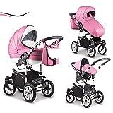 16 teiliges Qualitäts-Kinderwagenset-Reisesystem 3 in 1 COSMO in 41 Farben: Kinderwagen + Buggy +...