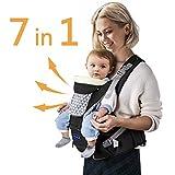 Windsleeping Kleinkinder Baby Carrier mit Kapuze für alle Jahreszeiten, 7 Möglichkeiten zu tragen, Hip Sitz Carrier Vorder- und Rückseite, Silikon griffsicheres Sitzfläche - Schwarz (MEHRWEG)