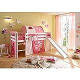 Rutschbett Kiefer massiv weiß EN 747-1 + 747-2 Hochbett Kinderbett Spielbett Jugendbett Massivbett Kinderzimmer Jugendzimmer