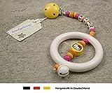 Baby Kinderwagen Anhänger mit NAMEN   Kinderwagenkette mit Wunschnamen - Mädchen Motiv Hello Kitty in gelb, orange